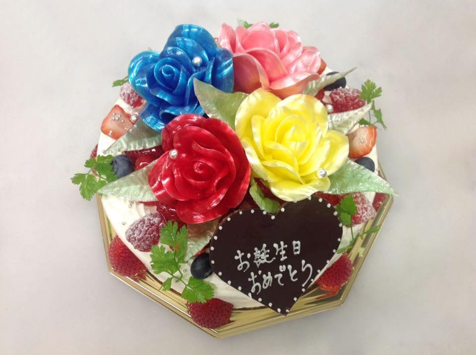 バラの飴細工、バースデーケーキ
